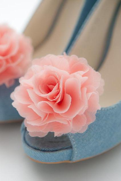1 Pair(Set of 2)-Coral Pink Chiffon flower shoe clips for bridal wedding/Choose your color
