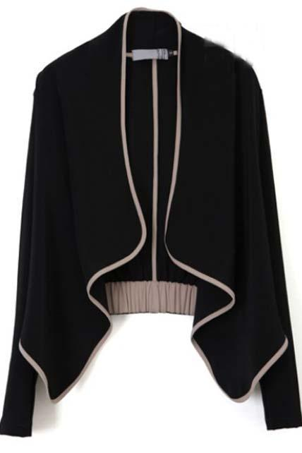 Woman Paned Long Sleeve Cotton Blend Cardigans - Black