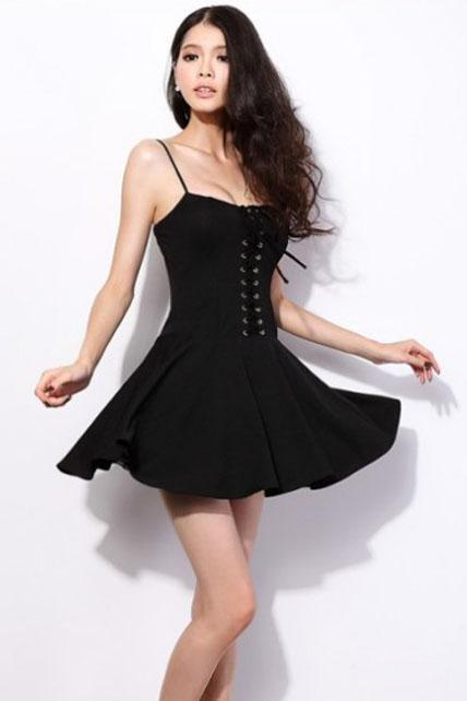 Sexy Hot Spaghetti Strap Design Woman Dress - Black