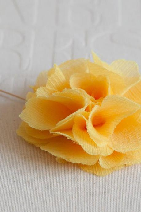 70mm Yellow Chiffon Men's Flower Boutonniere / Buttonhole For Wedding,Lapel Pin,Tie Pin