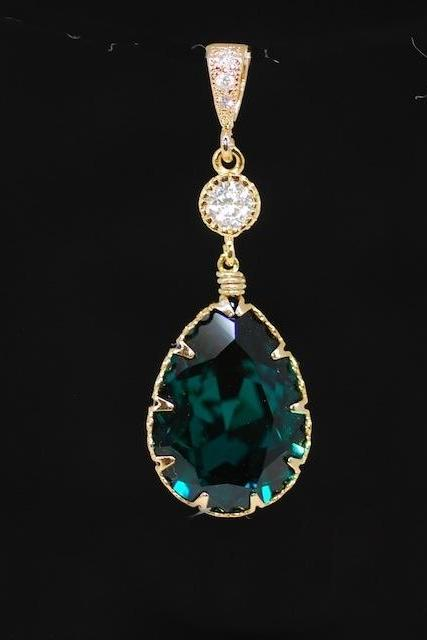 Gold Plated CZ Detailed Pendant, Round CZ, Swarovski Emerald Green Teardrop Crystal - Wedding Jewelry, Bridesmaid MOH Gift (P048)