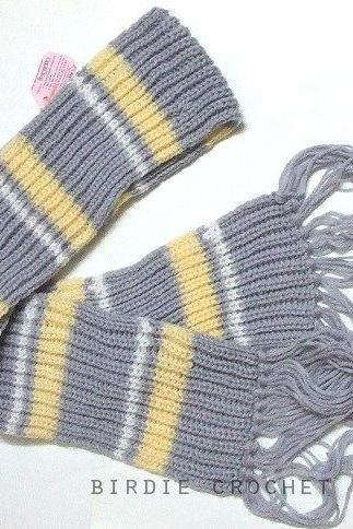 Funky Stripe Scarf 75' - Christmas Gift Hand Knitted Winter Long Scarf Unisex Scarf (Price for EACH item)