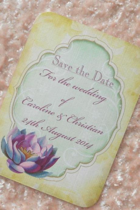 Vintage Save the Date Cards - Waterlily (Ref 81) Set of 10