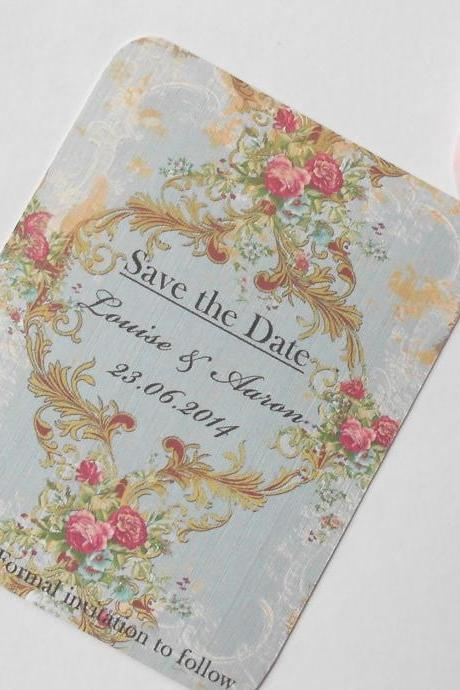 Vintage Save the Date Cards x 10 - Rhapsody in Blue (Ref 110)