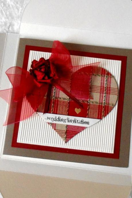 Rustic Wedding Invitations with Red Gingham Tartan fabric (Ref 160) Each