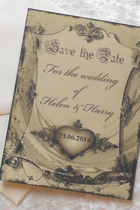 Gothic Save the Date Cards x 10 - Gothic Swag (Ref 80)