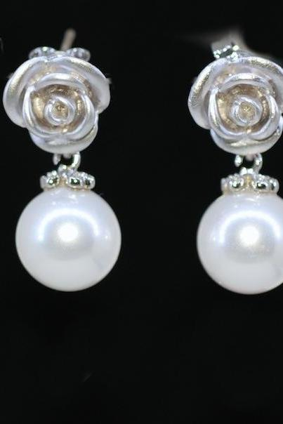 Wedding Earrings, Bridesmaid Earrings, Matt Rose Earring with Round White Pearl (E375)