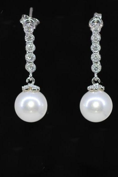 Wedding Earrings, Bridesmaid Earrings, Bridal Jewelry - Cubic Zirconia Detailed Round White Pearl Earrings (E374)