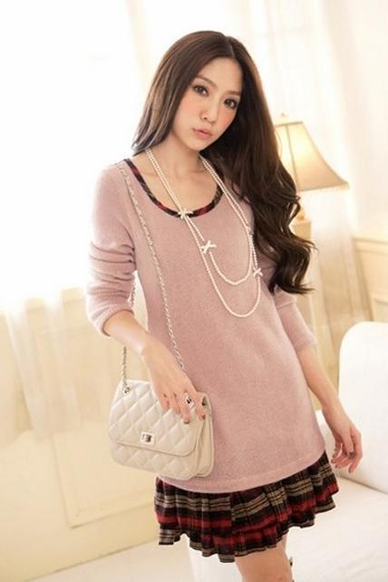 Sweet Splicing Long Sleeve Dress - Pink
