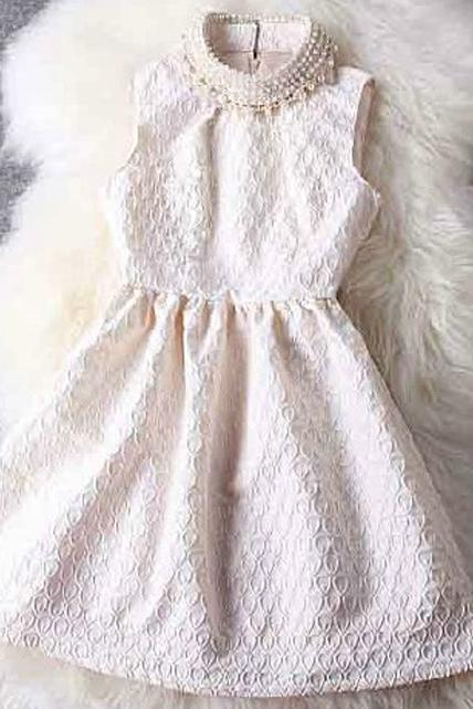 Luxury Faux Pearl Decoration Collar Tank Dress - White