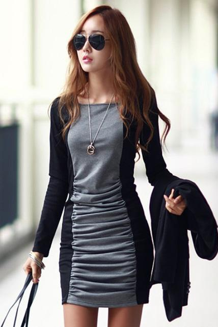 Work Essential Round Neck Black and Grey Color Blocking Dress
