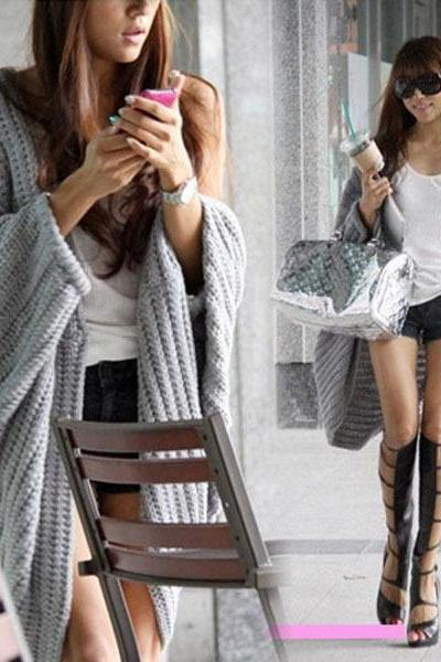Lady Batwing Casual Loose Sweater Knitting Long Cardigan Shawl Outwear