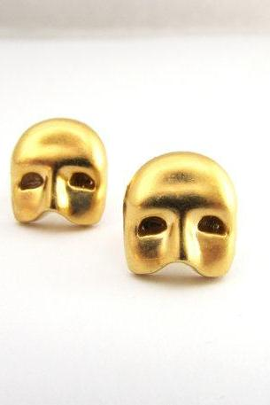 Masquerade Post Earrings, Gold Mask Earrings, Victorian Mask Jewelry, Halloween Jewelry, Gold Post Earrings, Small Mask Earrings Studs