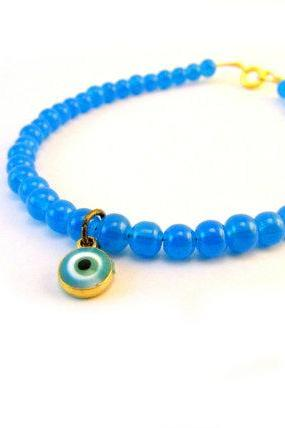 Neon Blue Bracelet, Evil Eye Bracelet, Blue Beaded Bracelet, Dainty Beaded Bracelet, Blue Bridal Jewelry, Something Blue,Gold Charm Bracelet