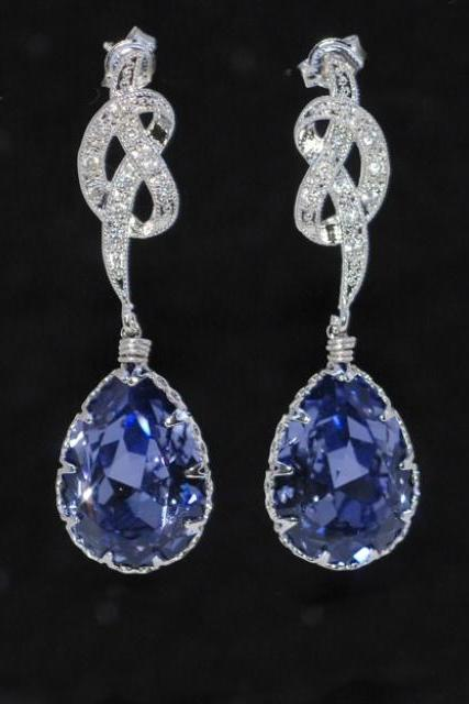 Wedding Earrings, Bridesmaid Earrings, Cubic Zirconia Detailed Knot Earring with Swarovski Tanzanite (Purple) Teardrop (E241)