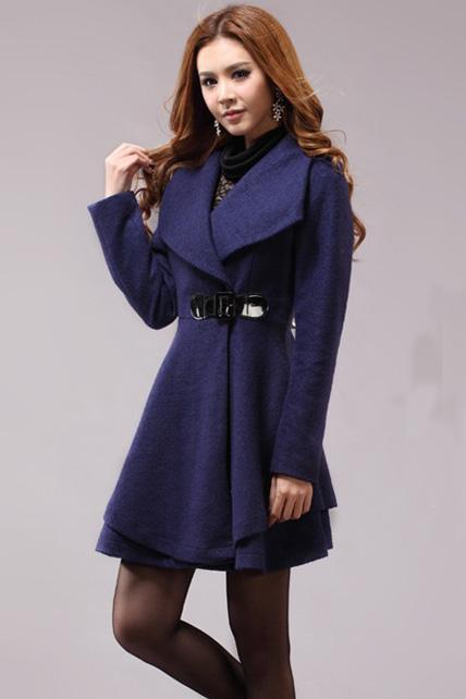 Lovely Dress Pattern Turndown Collar Woolen Coat - Navy Blue