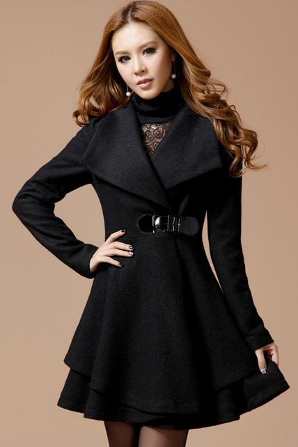 Lovely Dress Pattern Turndown Collar Woolen Coat - Black