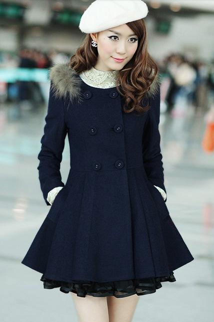 Luxury Faux Fur Decoration Round Neck Coat with Lace - Navy Blue