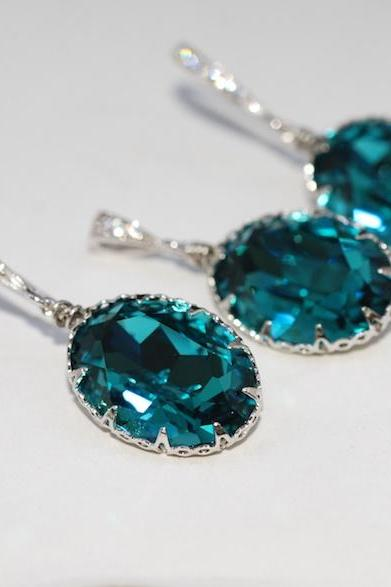 Earrings and Pendant Set (S464a) - Swarovski Indicolite Oval Crystal, CZ Detailed Earring Hook (E464), Matching Oval Pendant (P035)