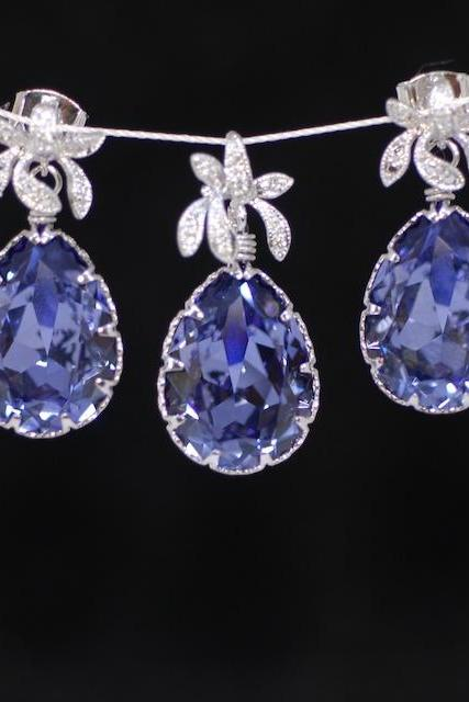 Orchid Swarovski Tanzanite (Purple) Teardrop Earring and Pendant Set (S135a) - E135 and P019