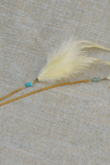 SALE) D-005 Yellow feather with turquoise extension, Yellow cabochon hairpin, Lovely hairpin, Gold plated hairpin/Everyday accessory/