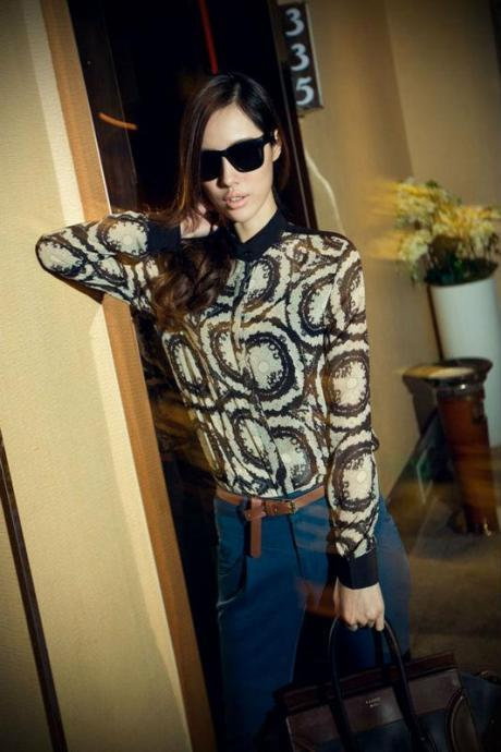 blouse WOMEN PATTERN STAND COLLAR LONG SLEEVE CHIFFON GWF-6046