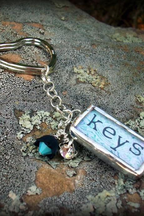 Keys Soldered Glass Pendant Keychain with rhinestones and beads....