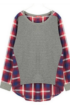 WOMEN FASHION ROUND NECK PLAID STITCHING LOOSE LONG-SLEEVED T-SHIRT 3762