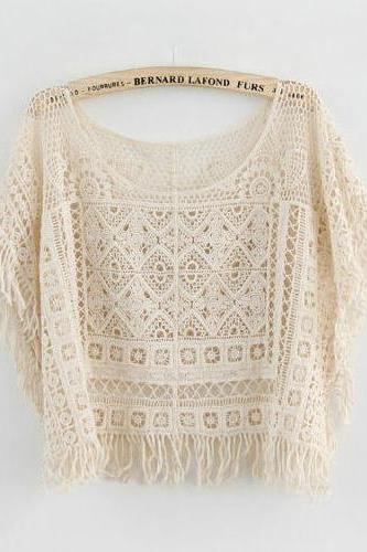 *free ship* Loose fringe lace tops