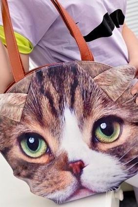 Fashion Cat Print Zipper PU Shoulder Bag