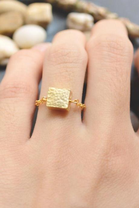 E-040 Square ring, Chain ring, Hammered ring, Simple ring, Modern ring, Gold plated ring/Everyday/Gift/