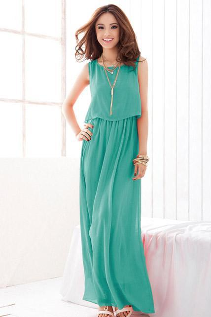 Chiffon Sleeveless High Waist Prom Dress - Green