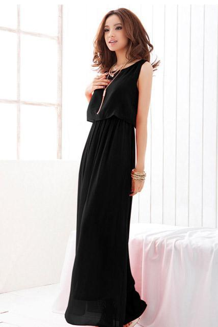 Chiffon Sleeveless High Waist Prom Dress - Black
