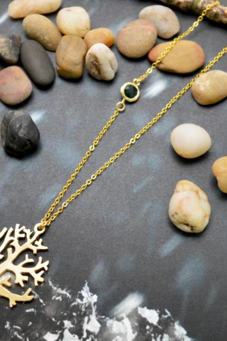 A-127 Tree necklace, Emerald glass necklace, Sideways necklace, Gold plated chain/Bridesmaid/Everyday jewelry/
