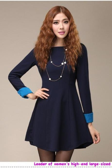 High quality large size 4XL 2013 Autumn Winter women clothing fashion OL elegant simple style slim-fit body dress