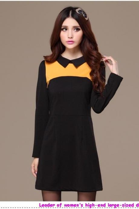 Hot sale large size 4XL 2013 Autumn Winter women clothes fashionable SWEET patchwork decoration slim-fit body dress