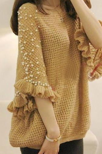 2013 New Fashion Pure Handmade Pearl Beaded Middle Bat Sweater Flounces Loose Ladies Sweater JXZZ-36 Brown