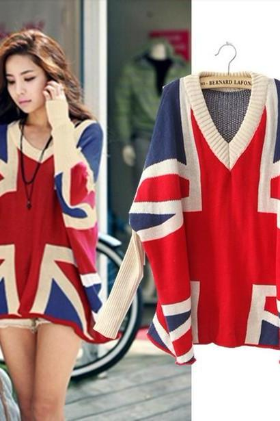 Women's Sweater Mixed colors Union Jack sweater loose big yards sweater bat sleeve V-neck
