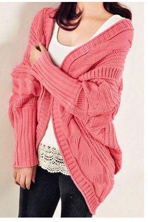 New Womens Cable Knitted Batwing Sleeve Cardigan Tops Knitwear Sweater Outwear Cape(ax289)