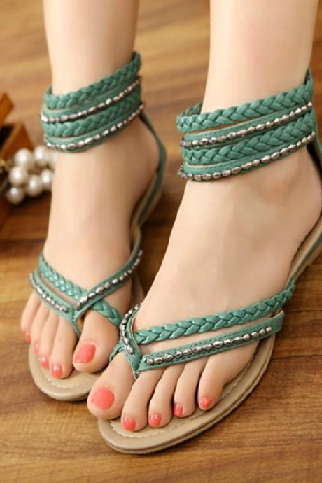 Clip toe hollow out diamond flat shoes BCBDBJ