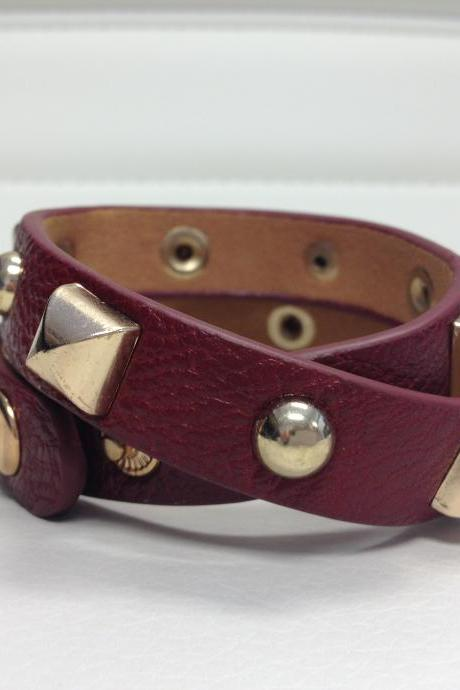 Leather Burgandy Wrist Wrap Gold Accents
