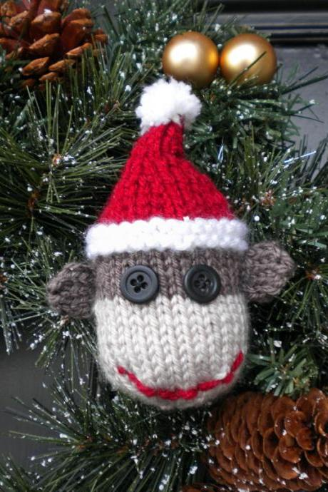 Sock Monkey Christmas Ornament