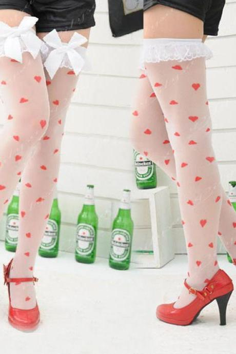 NEW Anti Slip Sexy White Silk Stockings Print RED Heart With Lace BOW