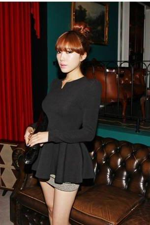 Black Fashion korea Puff Long sleeves Fitted Peplum Blouse Woman T-shirt Cotton Blends Tops Casual shirts