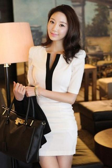 Work Lady Essential Simple White Half Sleeve Dress