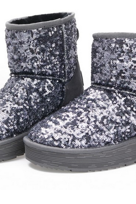 Paillette Glitter Flashing Female Snow Boots Winter Platform Thermal Cotton-Padded boots