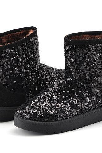 Sequin Embellished Winter Boots, Snow Boots