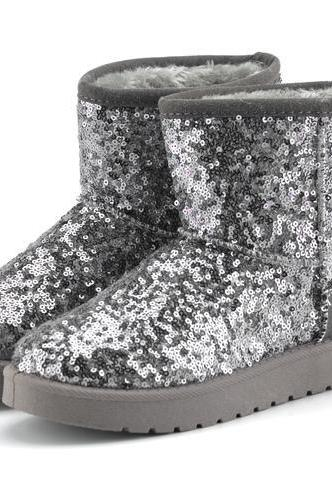 Shiny Sequinned Flat Short Ugg Boots
