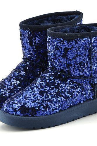 Winter Boots Sequins Snow Boots Good Quality Glitter Boots Sexy Ladies Shining Warm Ankle Outdoor Boots Autumn and Winter Shoes
