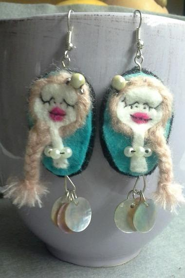 Handmade felt Earrings Art Doll The Month of June Blond Girl